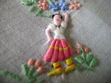 Vintage Bordado De Lino Pañuelo Stumpwork elevado, Dancing Lady, sin usar