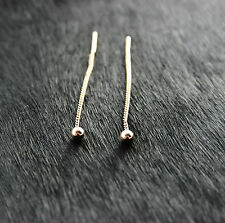 585 Russian Rose Gold 14k Pull Through Threader Drop Earrings