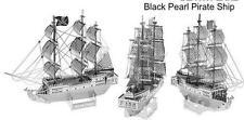 3D Puzzles Black Pearl Pirate Ship Laser Cut Metal Miniature Model Kits Self