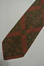 """Green Medallion STEFANEL Cotton Tie. 3.4"""" Wide  57"""" Long. Hand Made in ITALY"""