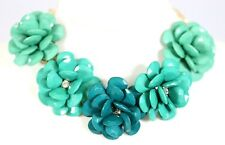 D16 Acrylic Flower Petal Graduated Teal Green Crystal Statement Necklace Earring