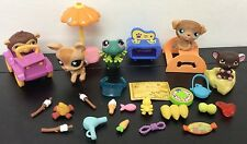 Littlest Pet Shop Lps Lot Of 5 Pets & 25 Access Campfire Jeep Deer Frog Dog #8