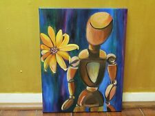 Original Acrylic/Oil Expressionist Surreal Mannequin Daisy Painting