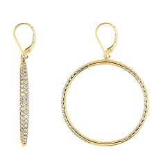 NEW 14K GOLD VERMEIL Pave In+Outside CZ Hoop Circle Earrings-Bridal 925 40MM