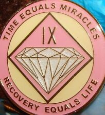 Alcoholics Anonymous AA NA PINK 9 Year Medallion Clean Recovery Token Chip sober