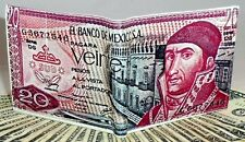 20 Mexican old pesos wallet real leather bifold Morelos currency red billete