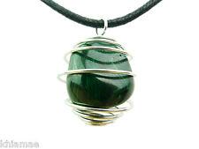 Malachite argent spirale collier noir cordon pendentif pierre précieuse cristal wicca pagan