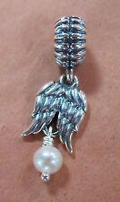 AUTHENTIC PANDORA GUARDIAN ANGEL WHITE PEARL DANGLE CHARM BEAD BRAND NEW 790975P