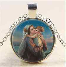 Mary and Baby Jesus Photo Cabochon Glass Tibet Silver Pendant Necklace