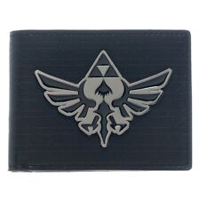 Official Zelda Black Bi-fold Wallet with Silver Metal Badge - Nintendo Hyrule