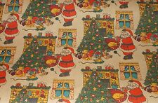 VTG CHRISTMAS SANTA TREE FIREPLACE STORE WRAPPING PAPER GIFT WRAP 2 YARDS