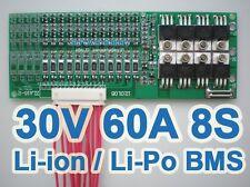 28V 29.6V 33.6V 60A 8x 3.6V 8S Lithium ion Li-PO Polymer Battery BMS PCB System