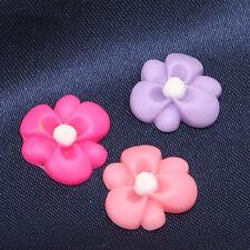 30pcs Hot Sale Mixed Color Flower Shape Resin Flatback Stick-on Embellishments D