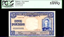 "BAHAMAS P12a ""MUCH RARER"" 5 POUNDS 1936 ""KING GEORGE VI"" PCGS 53PPQ FINEST!"