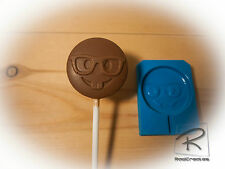 Geek/nerd Emoji lollipop/sweet/chocolate/candle/cake topper silicone Mould/mold