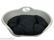 LARGE PLASTIC SILVER GREY PET BED WITH BLACK CUSHION DOG CAT SLEEP BASKET