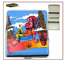 Smoking Man Cigarette Case Tobacco Weed Metal Holder Rasta Storage Pocket Box