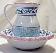 2 Pieces Italian Pottery Bowl/Pitcher White Pink Blue Sponge Paint Flower Border