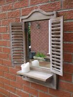 Distressed/Weathered Shabby Brown Wooden Shutter Mirror/Shelf Indoor/Outdoor