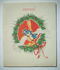 Blue Birds singing in holly wreath VINTAGE CHRISTMAS GREETING CARD *C2