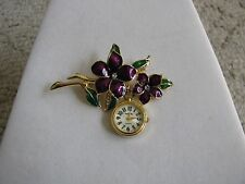 VINTAGE GOLD TONE PURPLE GLAZED ENAMEL FLOWER BROOCH PIN WITH INFINITY WATCH