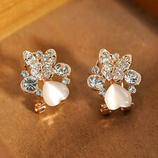 Fashion Women Punk Gothic Silver Hollow Flower Clip Ear Cuff Wrap Stud Earrings