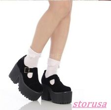 Ladies Retro Suede Gothic High Heels Ankle Strap Mary Jane Lolita Dress Shoes Sz