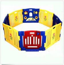 Baby Kids Playpen 8 Panel Door Safety Child Play Pen Home Indoor Outdoor Fence