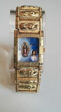 Geneva Jesus & Mary  Gold Finish Nugget style bracelet fashion watch