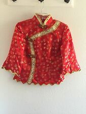 Traditional Chinese Top Qipao Size L, Red And Gold, Lined, Costume, Formal