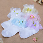 New Girls Lace Frilly Christening Socks in White,Pink,Lilac,Blue 1-8 Years