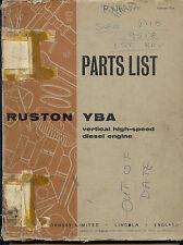 Ruston YBA vertical high speed diesel engine parts list 9518