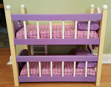 Wooden Bunk Bed for Dolls with Mattresses and Pillows
