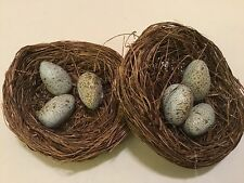 SET OF 2! SMALL HANDCRAFTED BIRD'S NESTS WITH SPECKLED EGGS! 3 INCHES AROUND