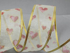 Ribbon Cream Organza Love Hearts 40mm Valentine's Day CRAFTS/GIFT Wrapping
