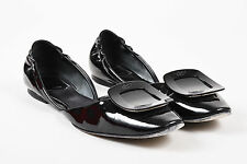 "Roger Vivier $595 Black Patent Leather ""Chips"" D'Orsay Flats SZ 39"