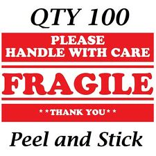"Qty 100 2"" x 3"" Red FRAGILE Handle With Care Thank You! Shipping Label/Sticker"
