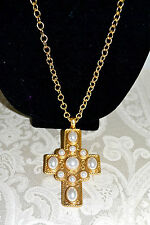 "NWT $200 KENNETH JAY LANE Large ""Pearly"" Cross Pendant Necklace 28 Goldtone"