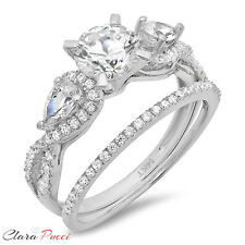 2.10 Carat Round Cut Halo Engagement Ring band set real 14k White Gold Bridal