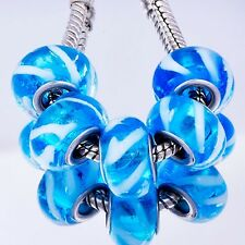5pcs White Twill Lampwork Sky blue Murano Glass Charm Bead Fit European Bracelet