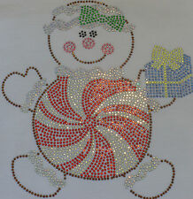 """7.5"""" Peppermint Gingerbread Christmas iron on rhinestone transfer for t shirt"""