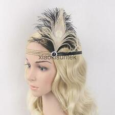 Flapper 1920s Feather Headband Head Piece Great Gatsby Charleston Gold Beads