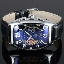 Men's Automatic Stainless Steel Skeleton Mechanical Black Dial Leather Classic