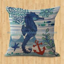 US SELLER- marine life sea animal seahorse cushion cover bench cushion covers