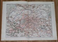 1912 ANTIQUE CITY MAP OF PARIS AND VICINITY / FRANCE