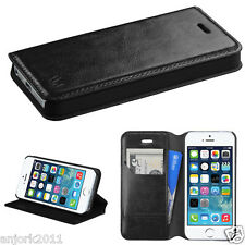 iPHONE 5 5S SE WALLET FOLIO CASE W/ CARD SLOT FOLDED STAND COVER BLACK