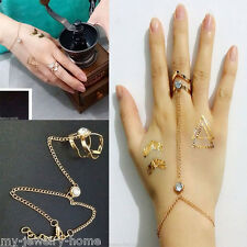 1Pcs Fashion Womens Alloy Golden Bracelet Bangle With Attached Ring Slave Chain