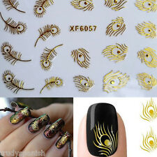 Metallic Gold Shiny Peacock Feathers Nail Art Stickers Transfer Decal Gel Polish