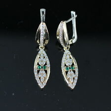 CHARMING! TURKISH HANDMADE EMERALD STERLING SILVER 925K AND BRONZE EARRING