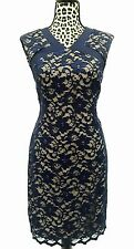 NEW! Belle Badgley Mischka Floral Lace Sheath Dress Navy Cocktail Sz.10 $189